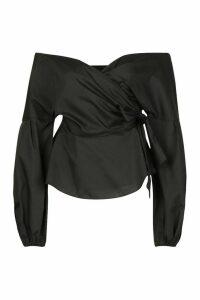 Womens Off The Shoulder Peplum Wrap Shirt - black - 14, Black