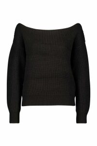 Womens Slash Neck Crop Fisherman Jumper - Black - M, Black