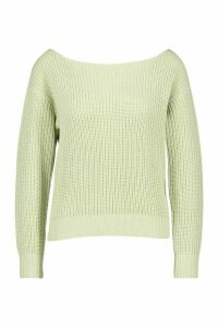 Womens Slash Neck Crop Fisherman Jumper - green - L, Green