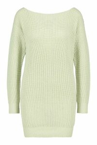 Womens Slash Neck Fisherman Jumper - green - S, Green