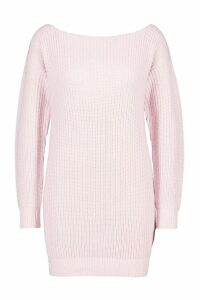 Womens Slash Neck Fisherman Jumper - pastel pink - S, Pastel Pink