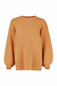 Womens Balloon Sleeve Knitted Jumper - Beige - M, Beige