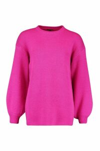 Womens Balloon Sleeve Knitted Jumper - Pink - M, Pink