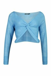 Womens Loose Knit Twist Cropped Jumper - blue - M, Blue