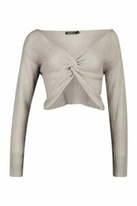 Womens Loose Knit Twist Cropped Jumper - Grey - Xl, Grey