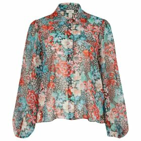 River Island Womens Petite Red floral organza shirt