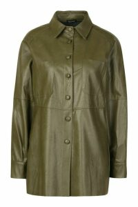Womens Faux Leather Utility Jacket - Green - 14, Green