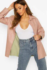 Womens Faux Leather Utility Jacket - beige - 14, Beige