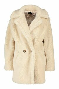 Womens Oversized Double Breasted Teddy Faux Fur Coat - white - L, White