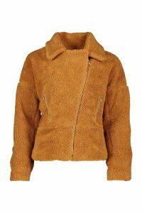Womens Teddy Faux Fur Biker Jacket - Beige - 12, Beige