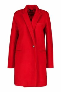 Womens Military Wool Look Coat - red - 12, Red