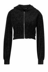 Womens Premium Soft Velour Zip Through Hoodie - black - 16, Black