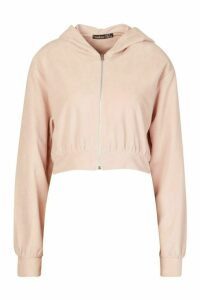 Womens Premium Soft Velour Zip Through Hoodie - pink - 12, Pink