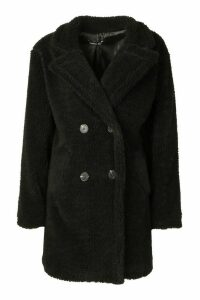 Womens Faux Fur Double Breasted Coat - black - 12, Black
