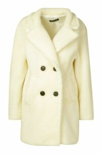Womens Faux Fur Double Breasted Coat - white - 14, White