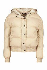 Womens Hooded Short Puffer Jacket - beige - 14, Beige