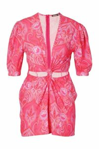 Womens Paisley Print Twist Front Playsuit - Pink - 8, Pink