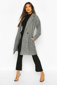 Womens Luxe Brushed Wool Look Button Through Coat - Grey - 8, Grey