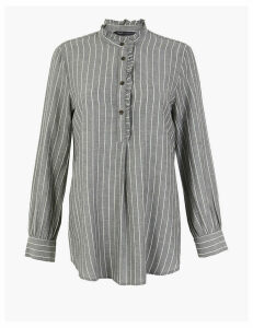 M&S Collection Cotton Rich Striped Ruffled Longline Blouse