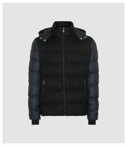 Reiss Meyrim - Padded Jacket With Removable Hood in Navy, Mens, Size XXL