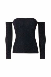 Womens Long Sleeve Bardot Glitter Top - navy - 10, Navy
