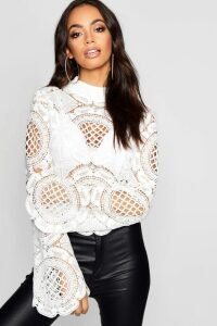 Womens roll/polo neck Crochet Lace Crop - white - 14, White