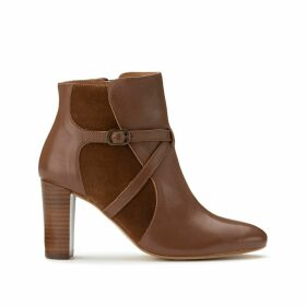 Zip-Up Leather Ankle Boots with High Heel