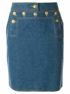 Chanel Pre-Owned buttoned flap denim skirt - Blue
