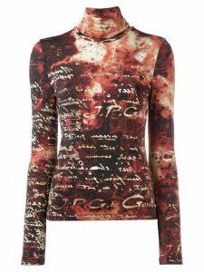 Jean Paul Gaultier Pre-Owned roll neck script sweater - Black