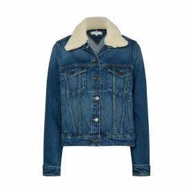 Straight Denim Jacket with Sherpa Collar