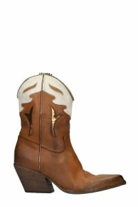 Elena Iachi Texan Ankle Boots In Leather Color Leather