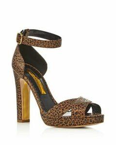 Rupert Sanderson Women's Meadow Leopard-Print Block Heel Sandals