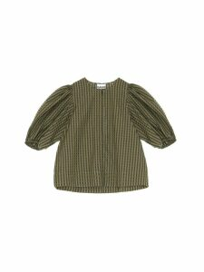 Ganni Checked Tie-waist Blouse