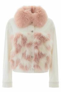 Mr & Mrs Italy Denim Jacket With Fur