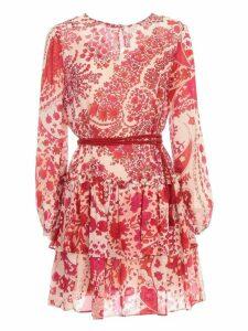 TwinSet Short Dress L/s W/flounce And Print