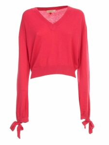 TwinSet Sweater L/s V Neck W/bow On Sleeve