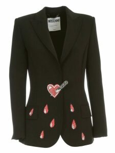 Moschino Jacket Cady W/crystall Embroidered Hearts