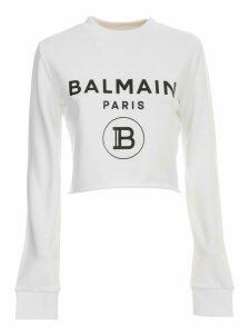 Balmain Sweatshirt Crew Neck Cropped W/logo