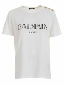 Balmain T-shirt S/s 3 Buttons On Shoulder Vintage Logo
