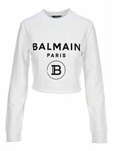 Balmain Logo-print Cropped Sweatshirt