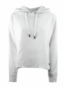 DKNY White Cotton Blend Hoodie