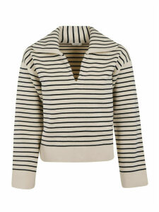 Celine Button-less Placket Striped Sweater