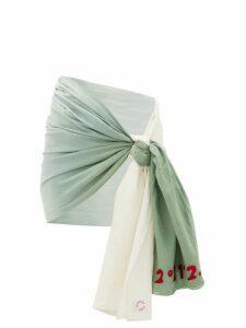Kilometre Paris - Palm Springs Gradient Cotton-khadi Sarong - Womens - Green White