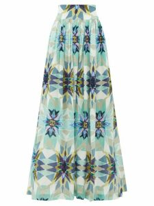 Le Sirenuse, Positano - New Jane Diamond-print Cotton Midi Skirt - Womens - Blue Print