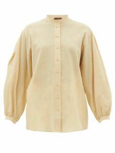 Albus Lumen - Levitas Balloon-sleeve Cotton Shirt - Womens - Beige