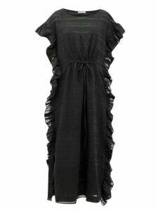 Araks - Yana Ruffled Striped Cotton-blend Maxi Dress - Womens - Black