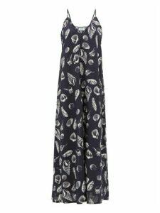 The Upside - Alani Shell-print Ruffle-edge Swing Dress - Womens - Navy Print