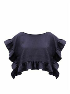 Araks - Yalitha Ruffled Linen Blouse - Womens - Navy