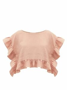 Araks - Yalitha Ruffled Linen Blouse - Womens - Pink