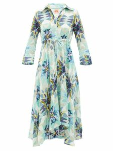Le Sirenuse, Positano - Lucy Diamond-print Cotton Midi Dress - Womens - Blue Print